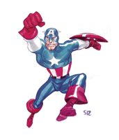 Captain-America watercolor by StephaneRoux