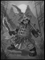 Panda warrior BW by ska-fandr