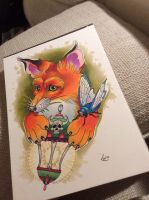 Tattoo design - Fox and Lantern by Xenija88