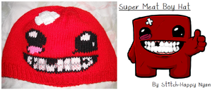 Super Meat Boy Knitted Hat by Stitch-Happy