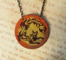 Of Flame Fox Fire Enameled Necklace by FusedElegance