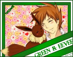 .:Green + Eevee:. by Martelca
