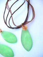Green earring and necklace set by TopazTurtle