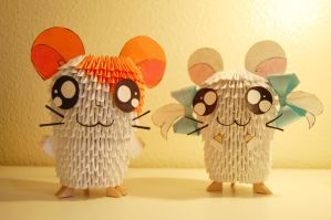 3D Origami Hamtaro and Bijou by iBeautyLovely