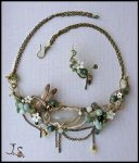 Wind in the grass necklace and ear cuff by JSjewelry
