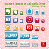 Japanese Famous Social Media Icons by Shishi2011