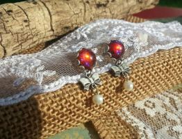 Dragon's Breath Earrings Bows and Pearls by artistiquejewelry