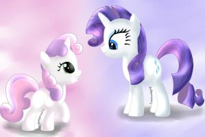 Rarity and Sweetie Belle by KuroVonWolfgang