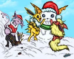 Holiday Eevees Part 2 by The-Bluetip
