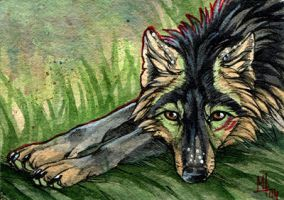 Relaxing - ACEO for The-Working-Wulf by wolf-minori