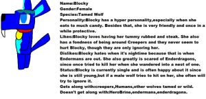 Minecraft oc: Blocky the tamed wolf by Me-MowTheCat