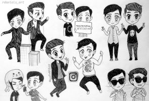 A bunch of Dan and Phil chibis! by RavenDANIELS