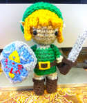 Link Zelda Amigurumi Doll With Shield and Sword by Spudsstitches