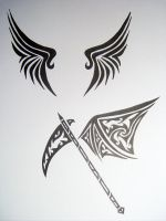 Tribal-Wings and Scythe Thing by SpiritsRebirth