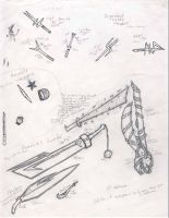 Weapons for the manga by Eairy