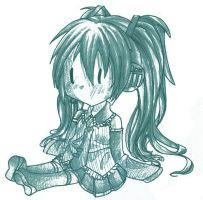 Pencil sketch Hatsune by liferaven