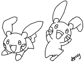 Happy Minun and Plusle Base by ZeratheHedgehog