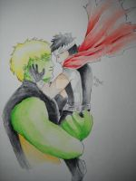 Hulkling and Wiccan, Watercolor by Mimi-Mako