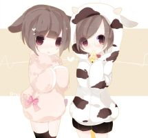 Sheep and cow by drag0nia