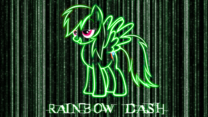 Rainbow Dash Matrix Style Wallpaper by BlueDragonHans