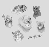 Big Cats Doodle (for practice) by RFakonWolf
