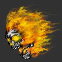 flaming skull by wakoART