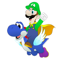 Luigi and Blue Yoshi by TerryRed