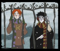 winter at Hogwarts by Sally-Avernier