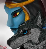 Wolf Link and Midna by RussianWallet