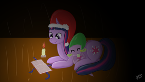Twilight and Spike Christmas by KyoFishie