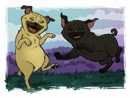 Happy Pugs by Greykitty
