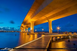 Under-the-Roosevelt-Bridge-at-Night-Stuart-Florida by CaptainKimo