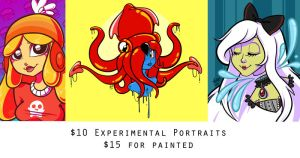 $10 Experimental Portraits - OPEN by zombielily