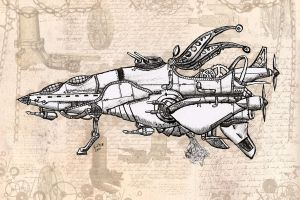 Steampunk Airship inked by Karla-Chan