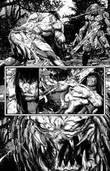 Conan vs Predator p3 by johnnymorbius