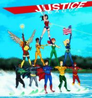 Justice League Water Ski Show(4th of July Variant) by micQuestion