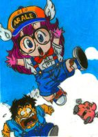 arale whit color pencil by darthmagician