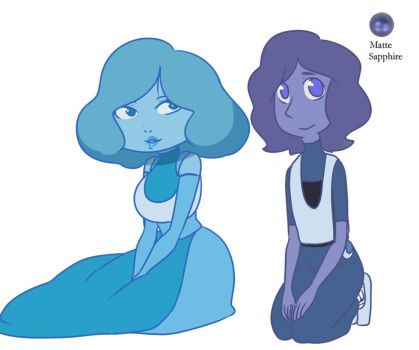 Larimar and Matte Sapphire Pearl by Chibi-Works