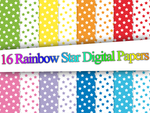 Rainbow Star Digital Papers by Safira-09