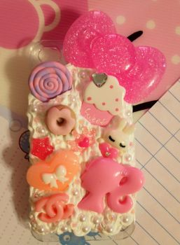 Pink Ribbon Decoden Cellphone Case by pinkDudu