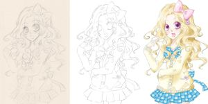 Shiori - Sketch to Color - by LolliSyrup