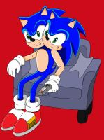 Request: Two Headed Hedgehog on a sofa by SuperSentaiHedgehog
