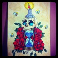 Skull and hourglass by FIZZINK