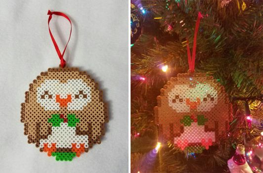 Rowlet Christmas Ornament by SmileAndLead