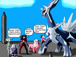 Crystal Gems Encounters Dialga by ToonEmpire24