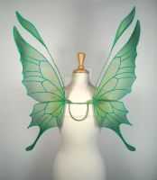 Crystal Fairy Wings in Green by glittrrgrrl