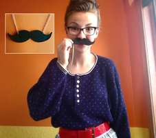 Moustache Necklace - Contest Entry by FlamingChickCreation