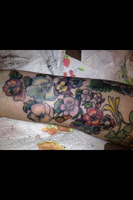 Freehand Pansy Tattoo by LynZtheMaddTatter