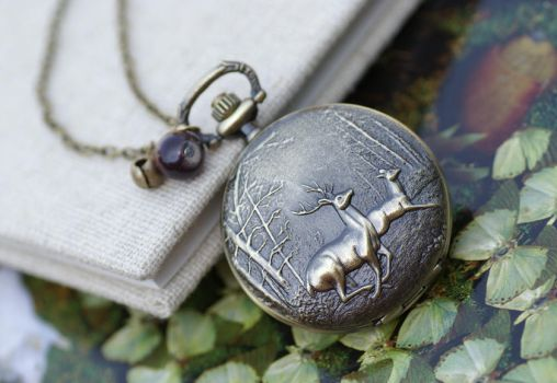 Vintage Deer Pocket Watch Necklace by MonsterBrandCrafts