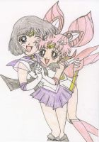 Sailor Saturn and Mini Moon by bonnielatour